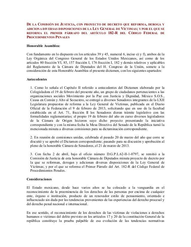 DE LA COMISIÓN DE JUSTICIA, CON PROYECTO DE DECRETO QUE REFORMA, DEROGA YADICIONA DIVERSAS DISPOSICIONES DE LA LEY GENERAL...