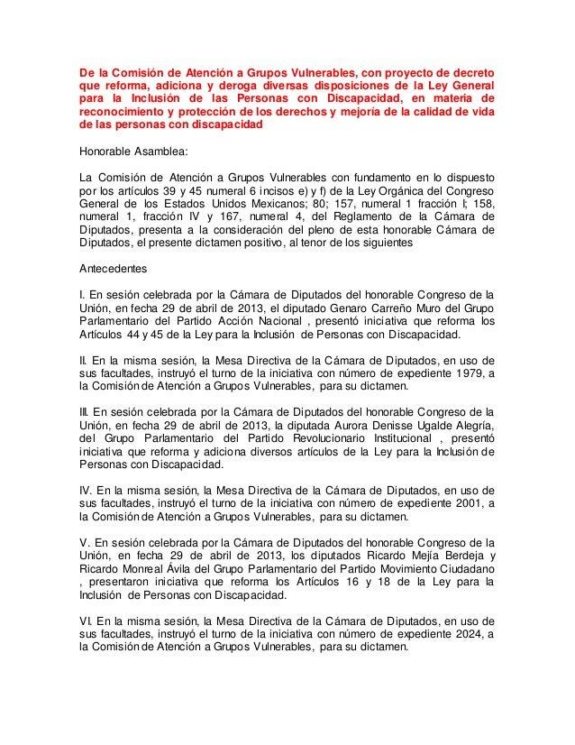 De la Comisión de Atención a Grupos Vulnerables, con proyecto de decreto que reforma, adiciona y deroga diversas disposici...