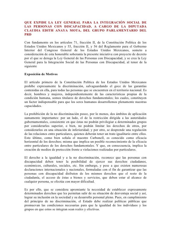 QUE EXPIDE LA LEY GENERAL PARA LA INTEGRACIÓN SOCIAL DE LAS PERSONAS CON DISCAPACIDAD, A CARGO DE LA DIPUTADA CLAUDIA EDIT...