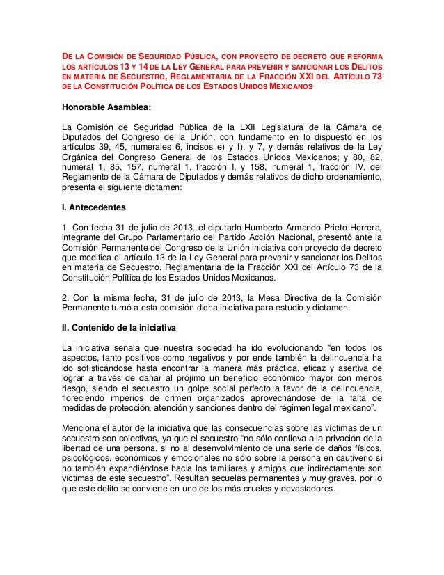 DE  LA COMISIÓN DE SEGURIDAD PÚBLICA, CON PROYECTO DE DECRETO QUE REFORMA LOS ARTÍCULOS 13 Y 14 DE LA LEY GENERAL PARA PRE...