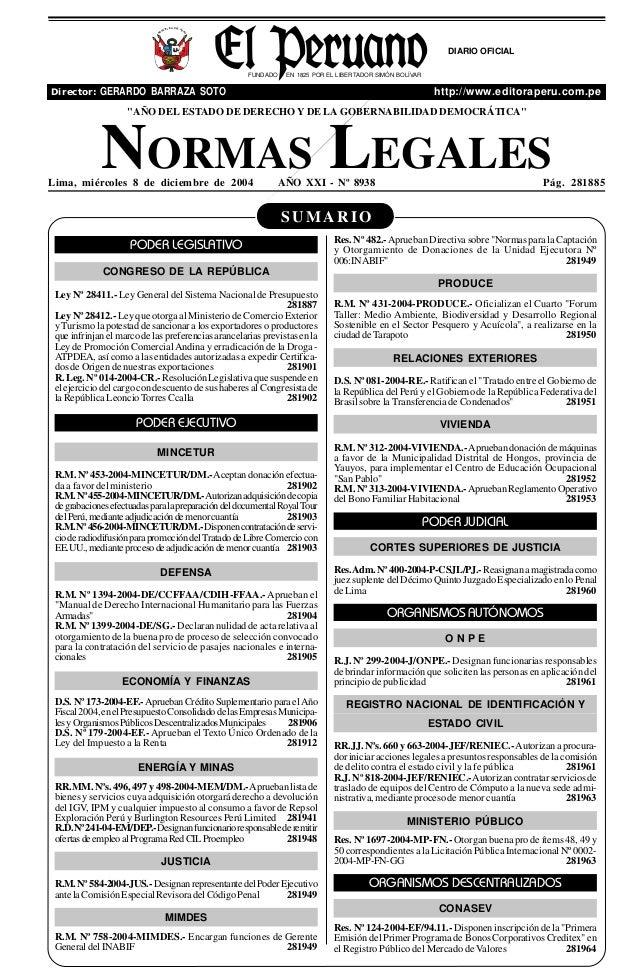 R  EP  UB  LICA DEL P E  R  U  DIARIO OFICIAL FUNDADO  EN 1825 POR EL LIBERTADOR SIMÓN BOLÍVAR  Director: GERARDO BARRAZA ...