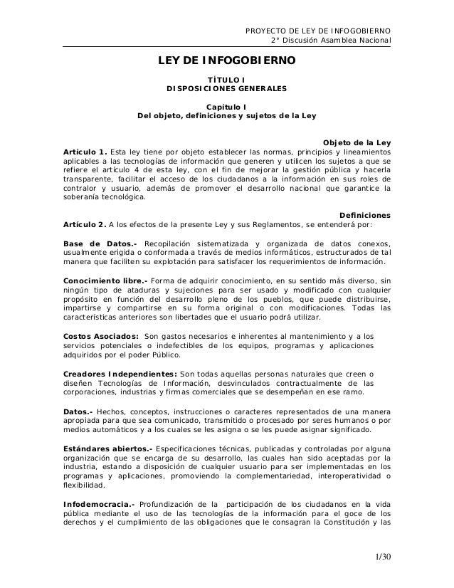 PROYECTO DE LEY DE INFOGOBIERNO 2° Discusión Asamblea Nacional  LEY DE INFOGOBIERNO TÍTULO I DISPOSICIONES GENERALES Capít...