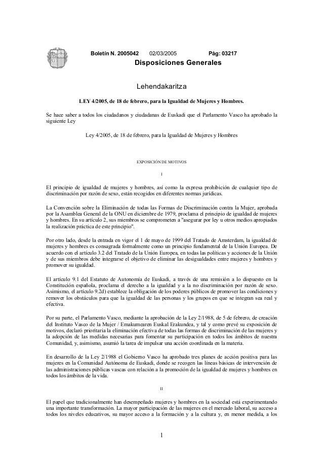 Ley io c-ley de igualdad  2005-g.vasco