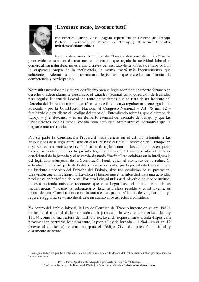 Por Federico Agustín Viale. Abogado especialista en Derecho del Trabajo. Profesor universitario de Derecho del Trabajo y R...