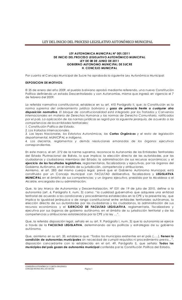 Ley municipal 001 2011 GAM Sucre