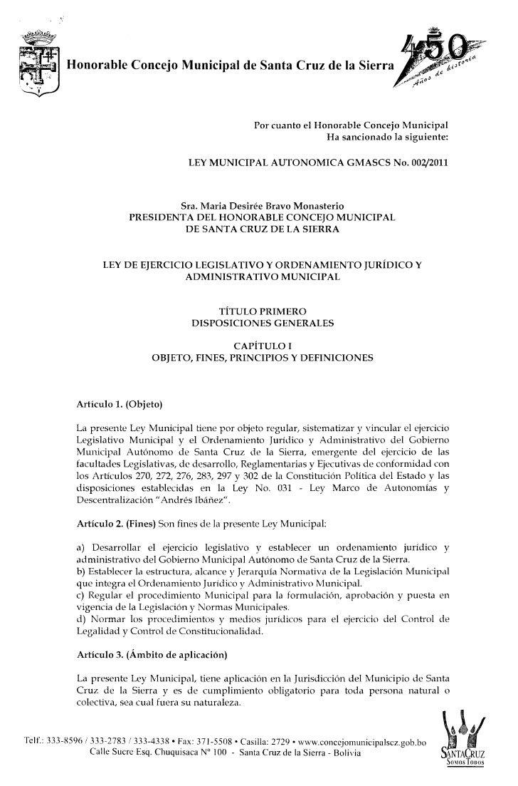 H onorable Concejo Municipal de Santa C ruz de la S ierra ^                                                               ...