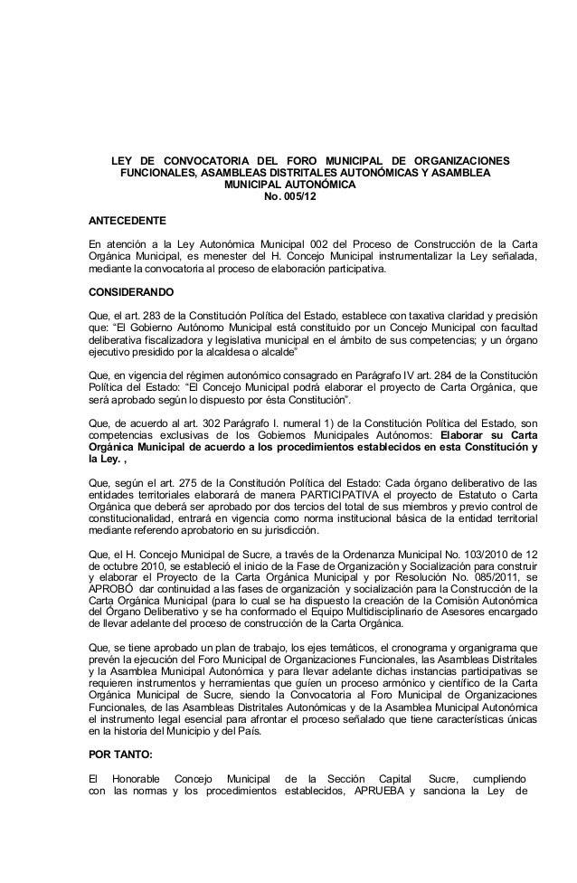 Ley municipal 005 2012 GAM Sucre