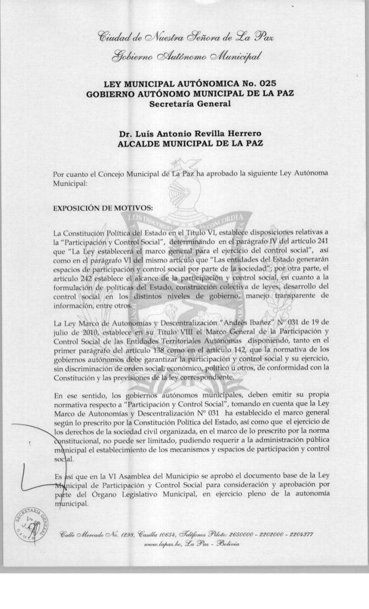 Ley municipal de participación y control social.la paz
