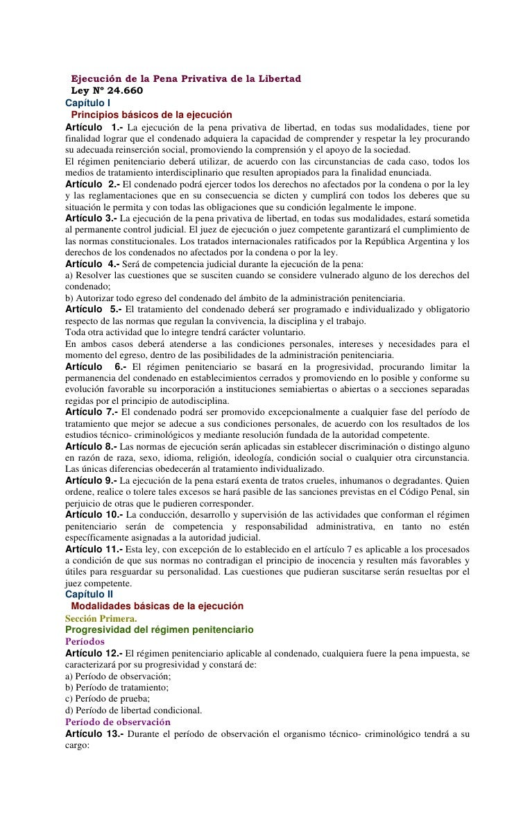 Ley n° 24660   regimen de internos
