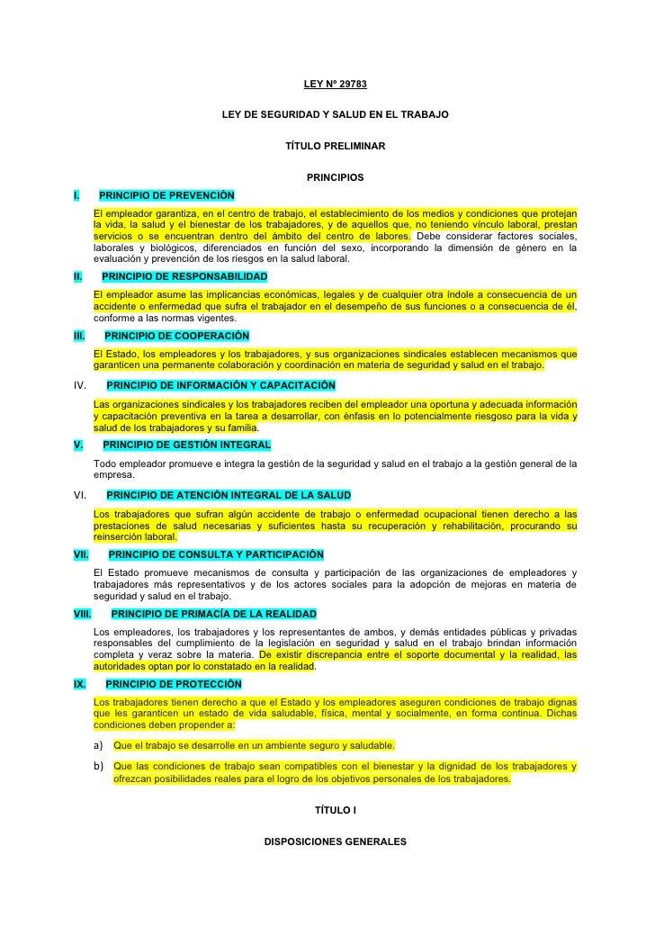 Ley nº 29783 ley de seguridad y salud en el trabajo
