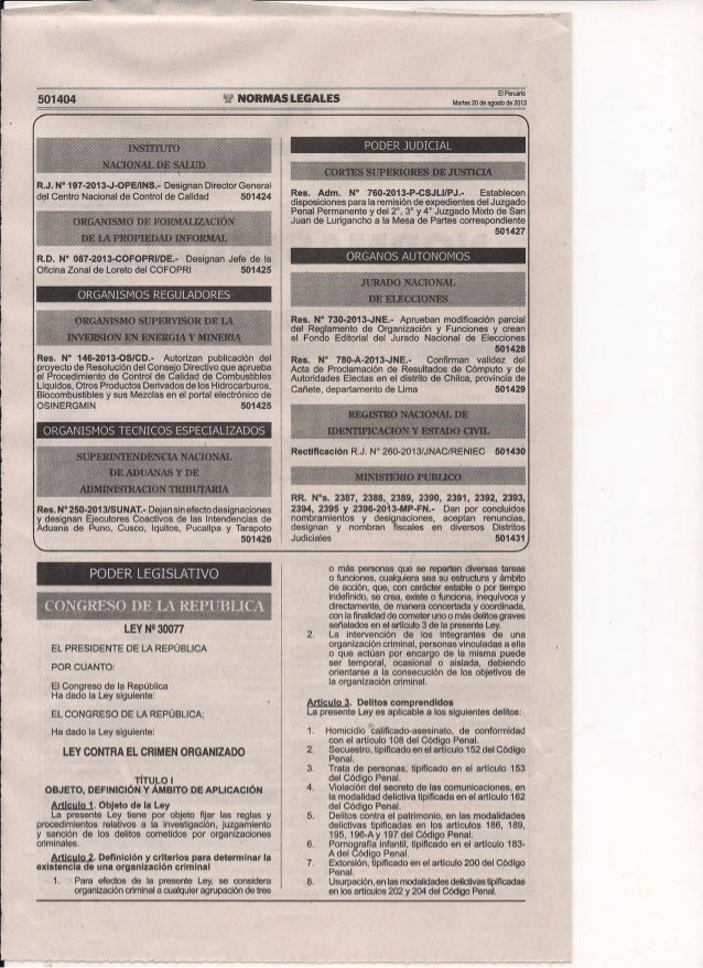 Ley N° 30077