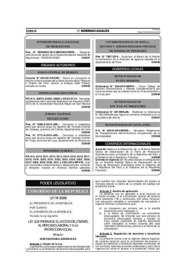 El Peruano Martes 16 de diciembre de 2014539916 SUPERINTENDENCIA NACIONAL DE MIGRACIONES Res. N° 00000592-2014-MIGRACIONES...