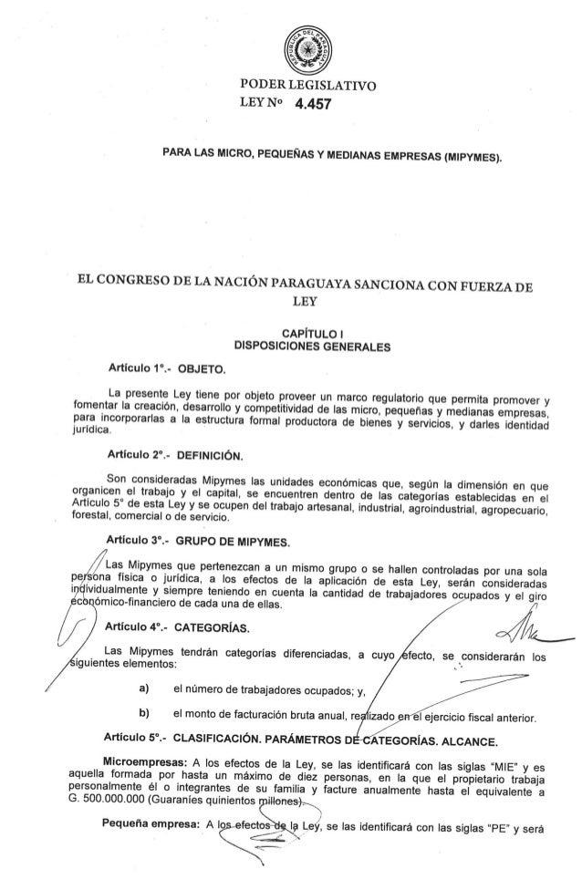 Ley Nº 4457 para las MIPYMES (16.05.2012)