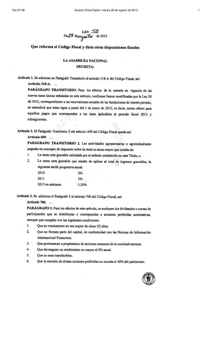No 27108   Gaceta Oficial Digital, martes 28 de agosto de 2012   1