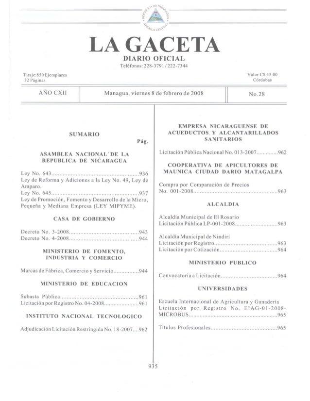 Ley nº 645, ley mipyme y su reglamento