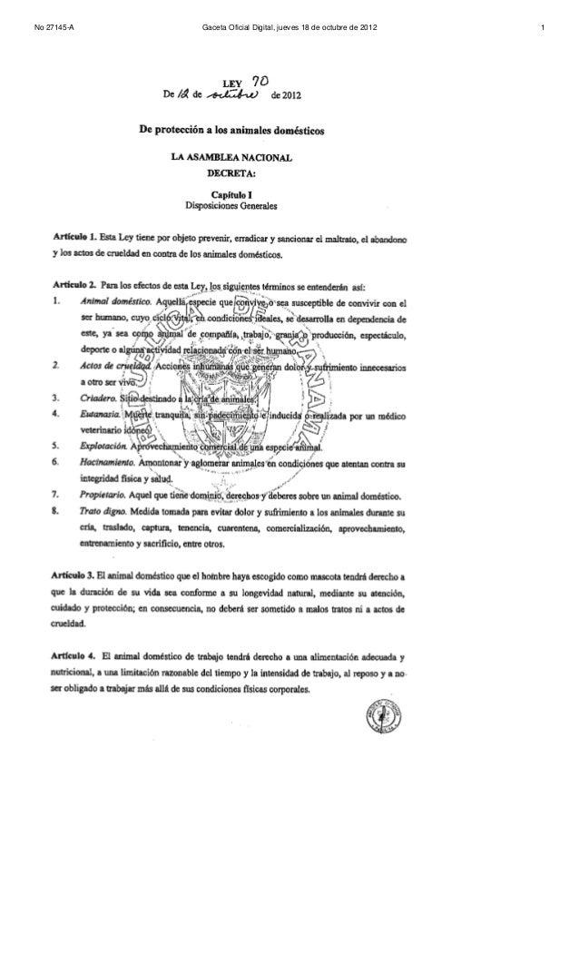 No 27145-A   Gaceta Oficial Digital, jueves 18 de octubre de 2012   1