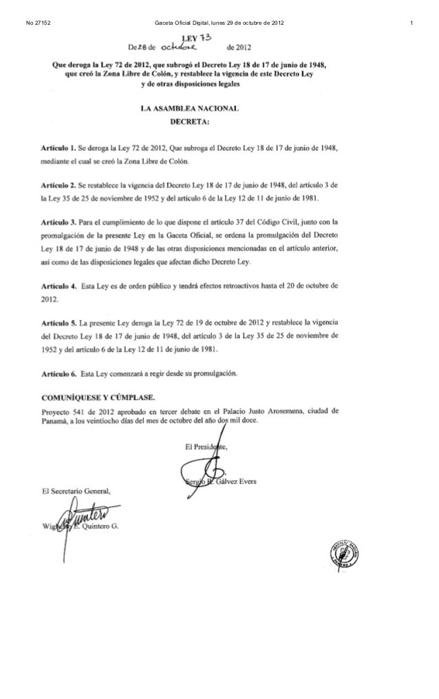 No 27152   Gaceta Oficial Digital, lunes 29 de octubre de 2012   2No 27152   Gaceta Oficial Digital, lunes 29 de octubre d...
