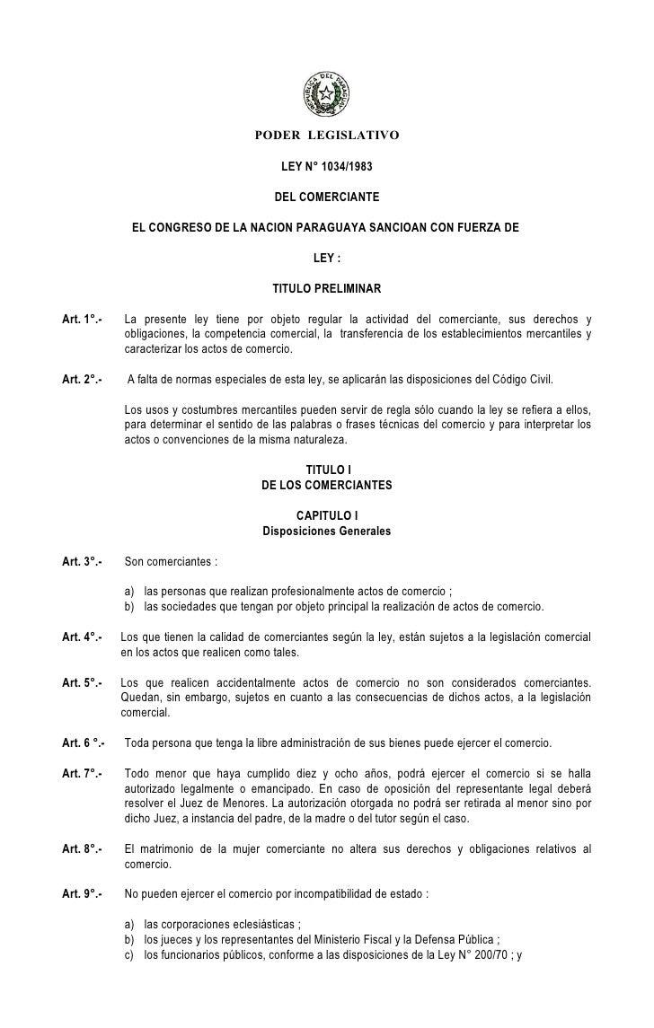 PODER LEGISLATIVO                                              LEY N° 1034/1983                                           ...