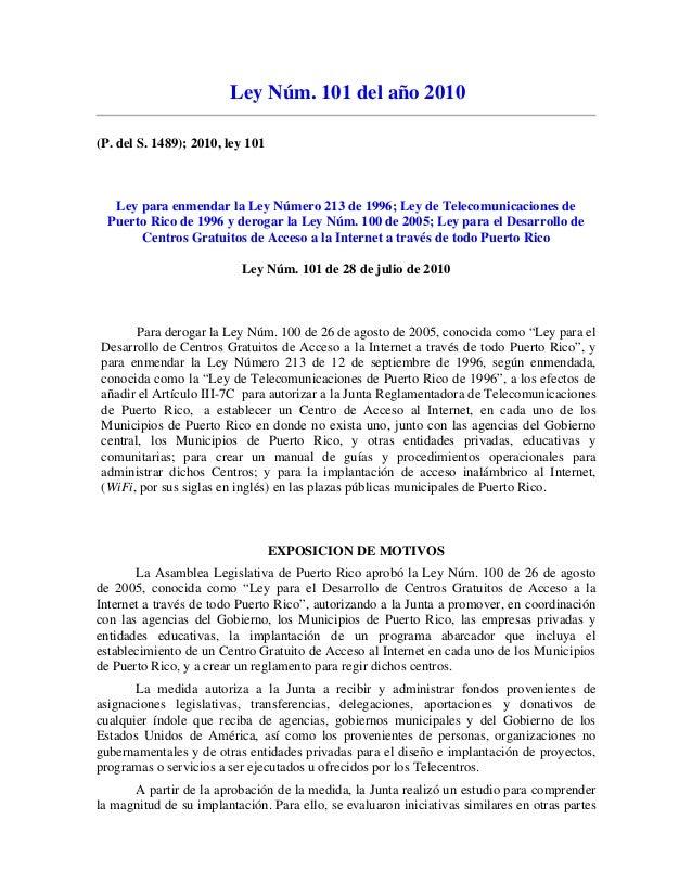 Ley 101 del 2010 - Acceso de Internet