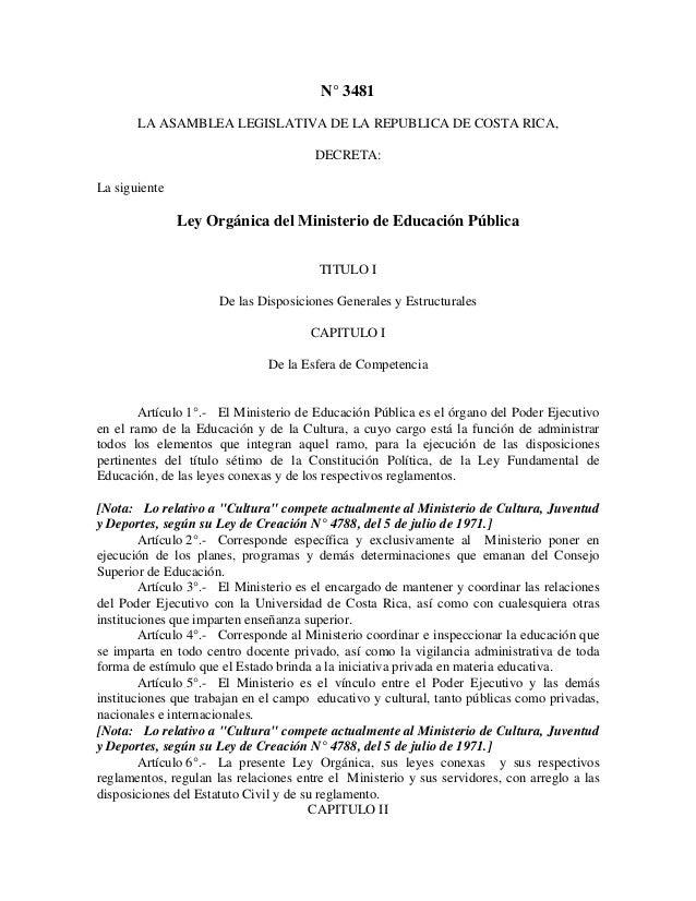 Ley organica del ministerio de educacion for Ley de ministerios