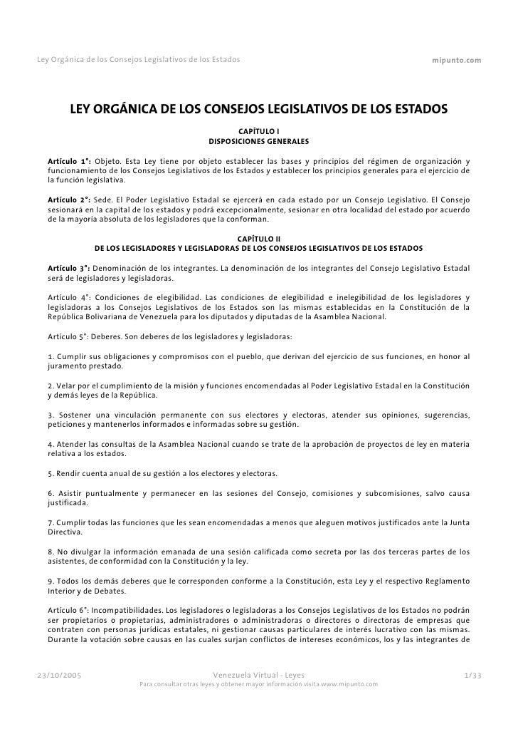 Ley Orgánica de los Consejos Legislativos de los Estados                                                    mipunto.com   ...