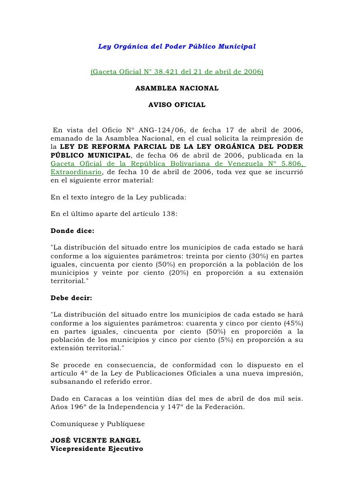 Ley Orgánica del Poder Público Municipal           (Gaceta Oficial N° 38.421 del 21 de abril de 2006)                     ...