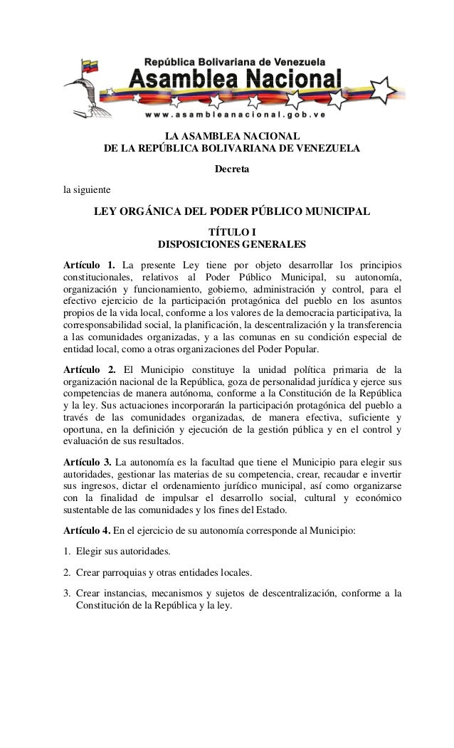 Ley Organica del Poder Publico_municipal Venezuela