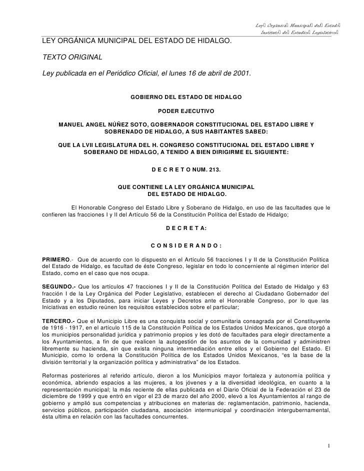Ley Orgánica Municipal del Estado                                                                                   Instit...