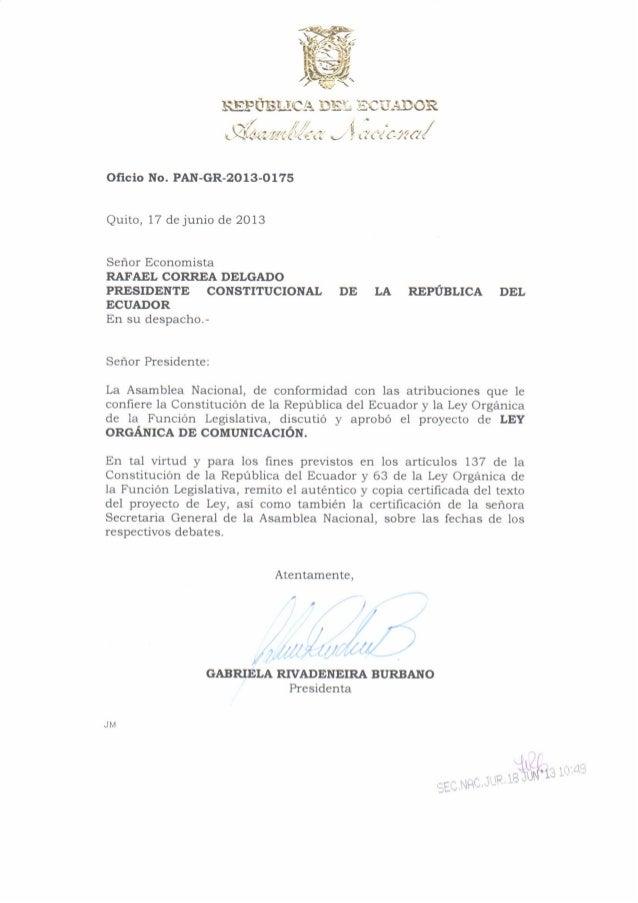 Ley Orgánica de Comunicación remitida al Ejecutivo (17-Jun-2013)