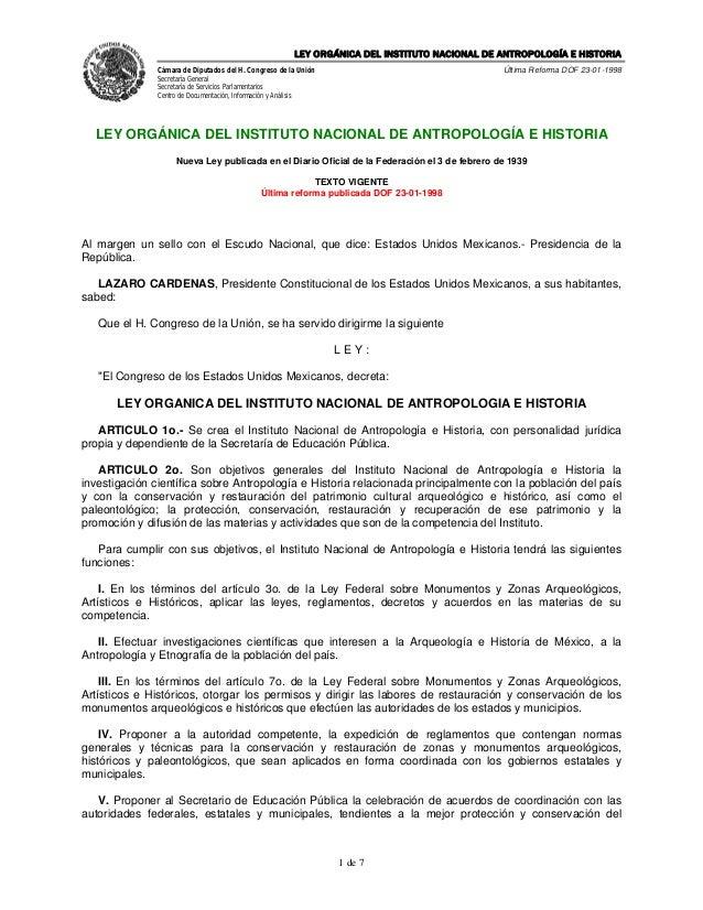 Ley orgánica del instituto nacional de antropología e historia