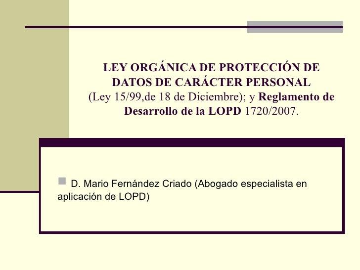 Ley orgánica de protección de datos de carácter