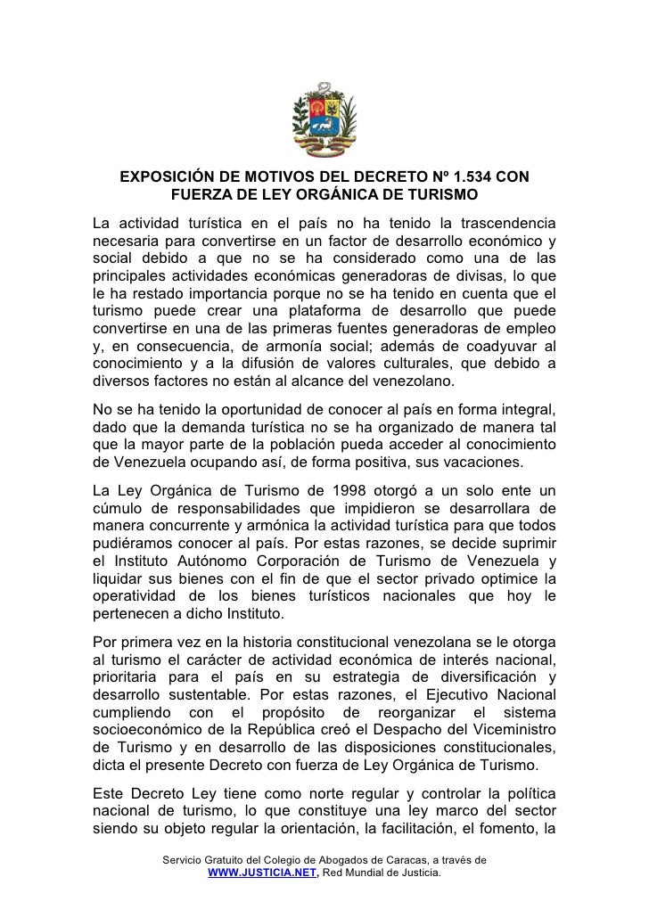 Ley orgánica de turismo - Venezuela