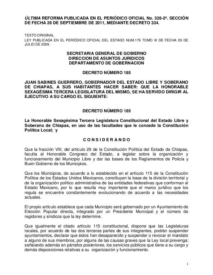 ÚLTIMA REFORMA PUBLICADA EN EL PERIÓDICO OFICIAL No. 328-2ª. SECCIÓNDE FECHA 28 DE SEPTIEMBRE DE 2011, MEDIANTE DECRETO 33...