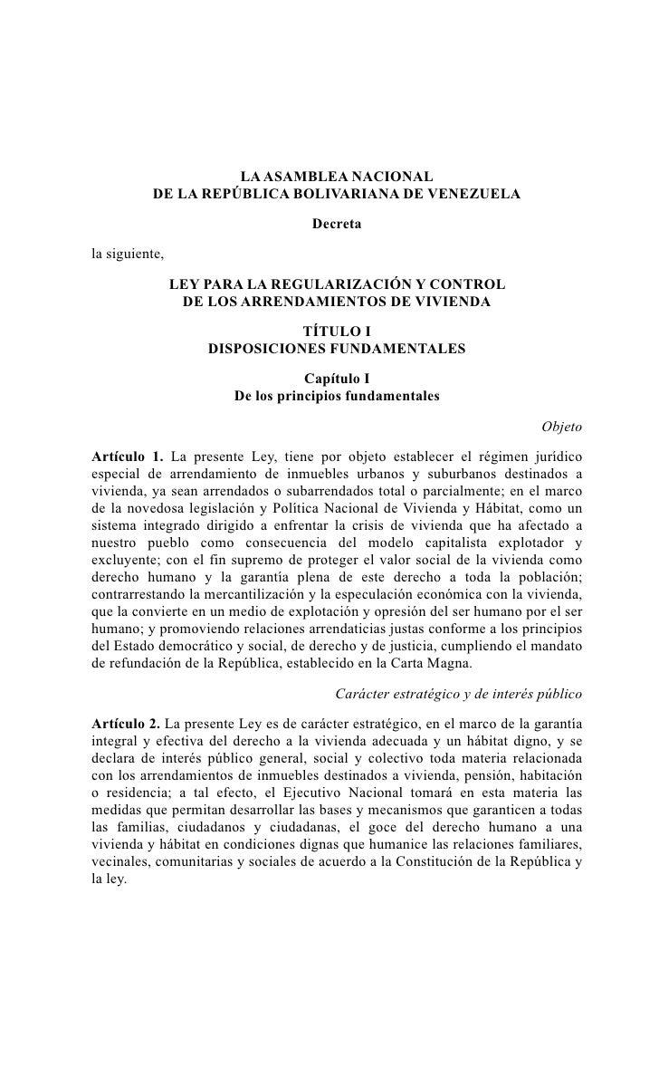 LA ASAMBLEA NACIONAL           DE LA REPÚBLICA BOLIVARIANA DE VENEZUELA                                   Decreta         ...