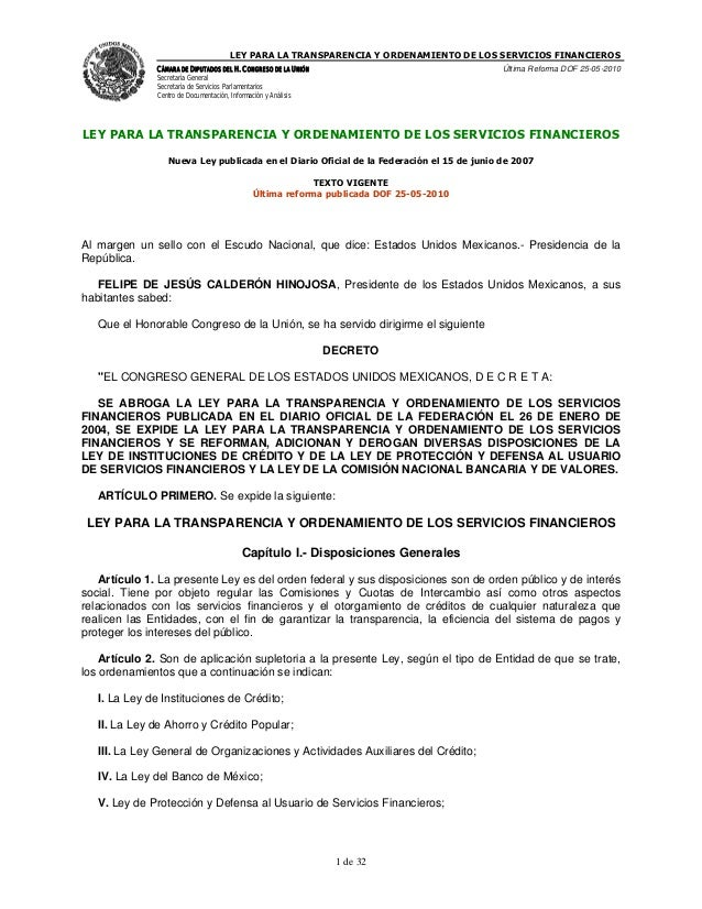 LEY PARA LA TRANSPARENCIA Y ORDENAMIENTO DE LOS SERVICIOS FINANCIEROS               CÁMARA DE DIPUTADOS DEL H. CONGRESO DE...