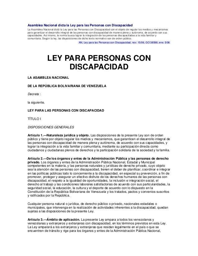 Asamblea Nacional dicta la Ley para las Personas con Discapacidad La Asamblea Nacional dictó la Ley para las Personas con ...