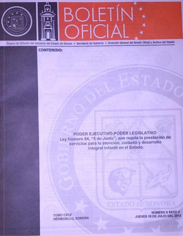 Ley 5 de Junio Sonora, Publicada en Boletin Oficial, 18 Julio 2013