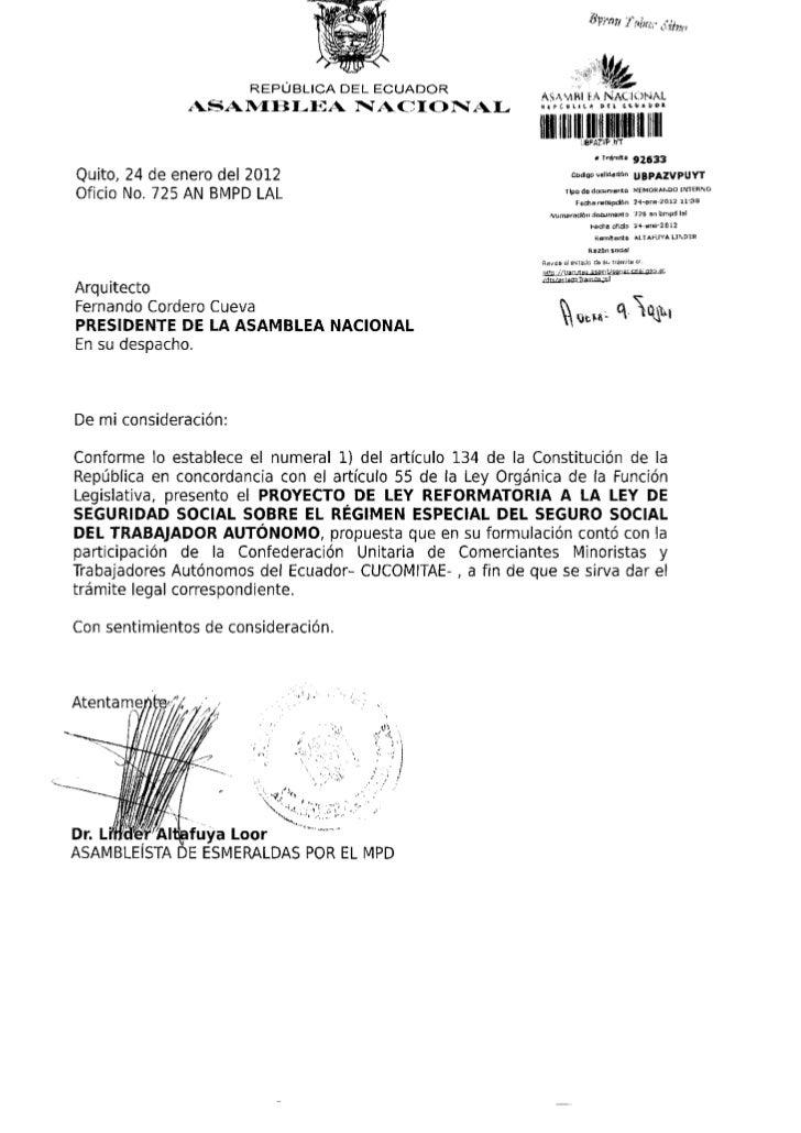 Proyecto de Ley Reformatoria de Seguridad Social Trabajador Autonomo