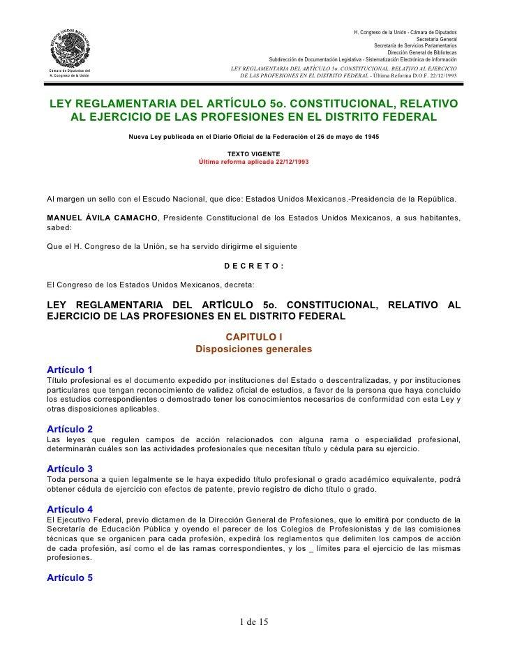 Ley reglamentaria del artículo 5o. constitucional 1993