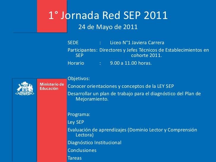 1° Jornada Red SEP 2011 24 de Mayo de 2011 <ul><li>SEDE :  Liceo N°1 Javiera Carrera </li></ul><ul><li>Participantes: Dire...