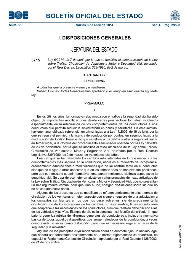 BOLETÍN OFICIAL DEL ESTADO Núm. 85 Martes 8 de abril de 2014 Sec. I. Pág. 29508 I. DISPOSICIONES GENERALES JEFATURADEL E...