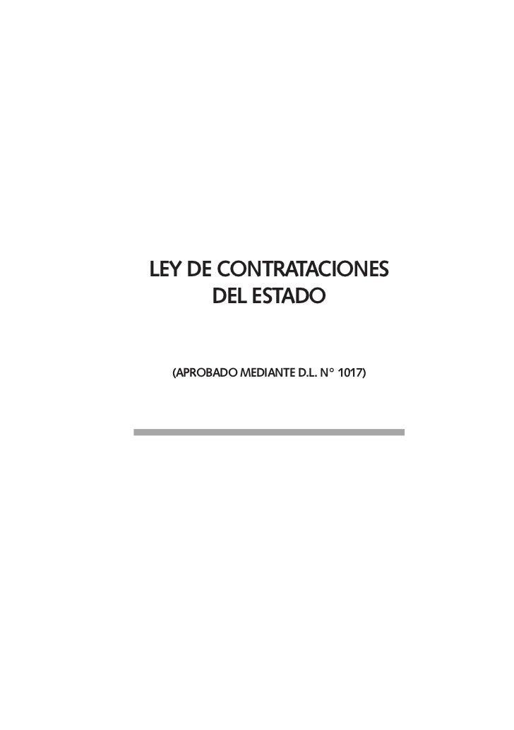Ley de ContrataCiones       deL estado     (aprobado mediante d.L. n° 1017)