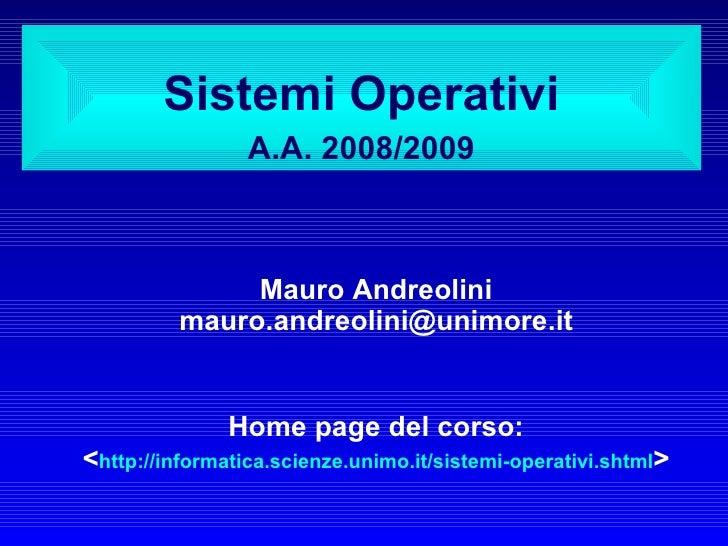 Sistemi Operativi: Introduzione - Lezione 01