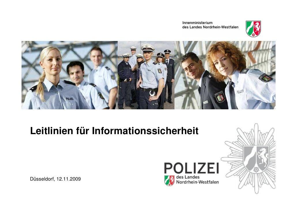 Leitlinien für Informationssicherheit    Düsseldorf, 12.11.2009