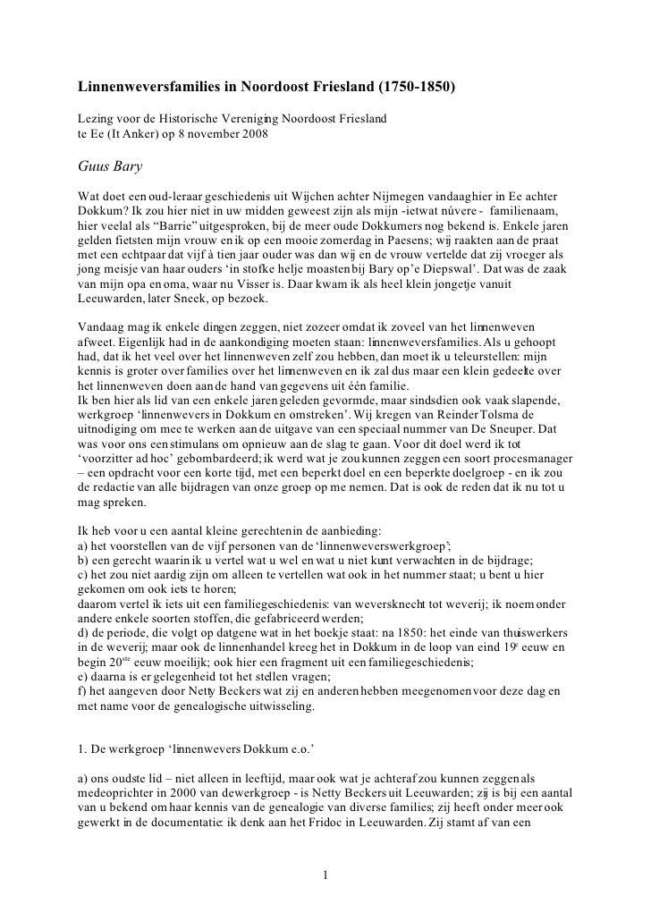 Linnenweversfamilies in Noordoost Friesland (1750-1850)  Lezing voor de Historische Vereniging Noordoost Friesland te Ee (...