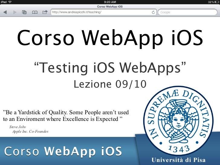 Corso WebApp iOS - Lezione 09: Testing iOS WebApp