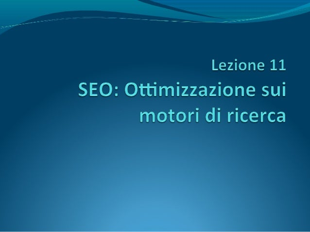 A differenza del SEM (Search Engine Marketing), cheacquista spazi legati alle parole chiave, il SEO si occupadel buon posi...