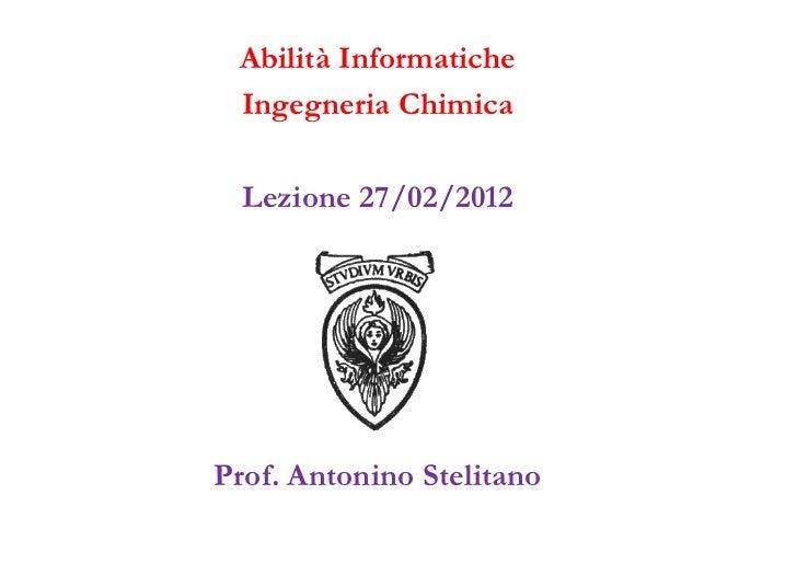 Lezione 1 (27 febbraio 2012)