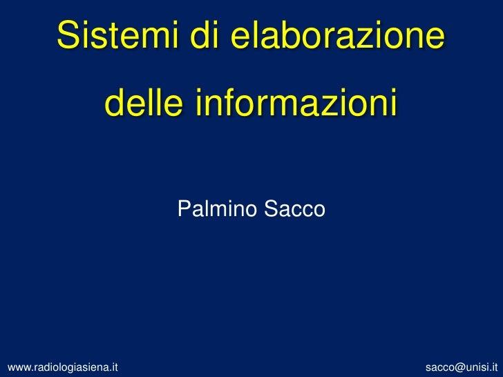 Sistemi di elaborazione delle informazioni<br />Palmino Sacco<br />