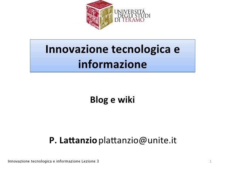 Innovazionetecnologicae                          informazione                                             Blogewiki  ...